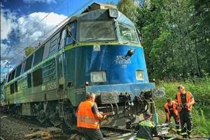 Pod Olsztynem wykoleiła się lokomotywa. Ruch pociągów był wstrzymany przez kilka godzin [FILM]