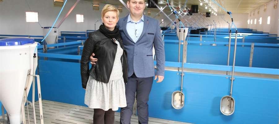 Właściciele tuczarni państwo Joanna i Marcin Lemańscy z miejscowości Zalesie w gminie Płośnica, w woj. warmińsko-mazurskim