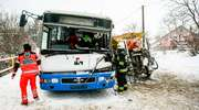 Autobus zderzył się z pługopiaskarką. Jedna osoba w szpitalu [zdjęcia]