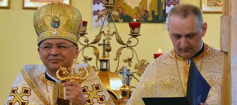 Ks. abp Eugeniusz Popowicz i ks. Bogdan Sytczyk