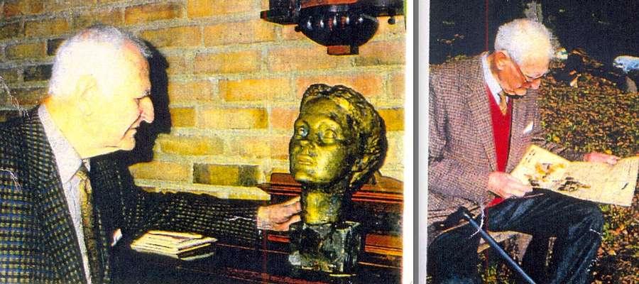Alexander książę zu Dohna ogląda wykonaną z brązu rzeźbę głowę swojej żony
