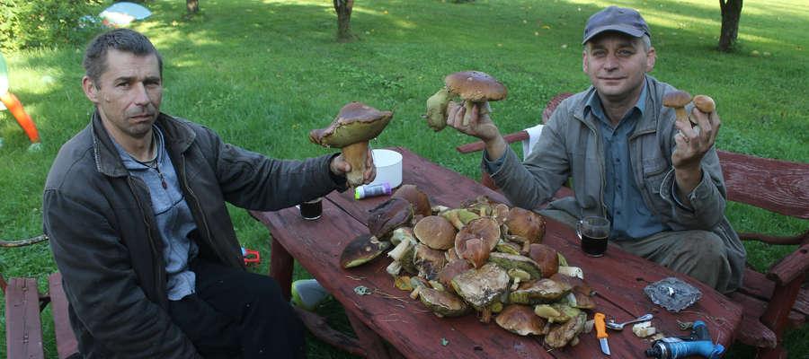 Panowie Grzegorz (po lewej) i Paweł, w lesie w okolicach Dąbrowy koło Bisztynka, w ciągu dwóch godzin zebrali pokaźną ilość prawdziwków.