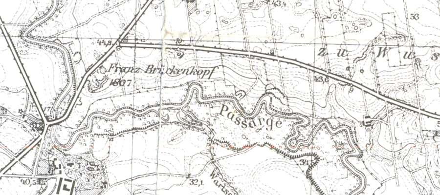 Rzeka Pasłęka, most oraz Spędy na mapie z 1937 r.