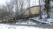 Skarpa z drzewami osunęła się na drogę [zdjęcia]