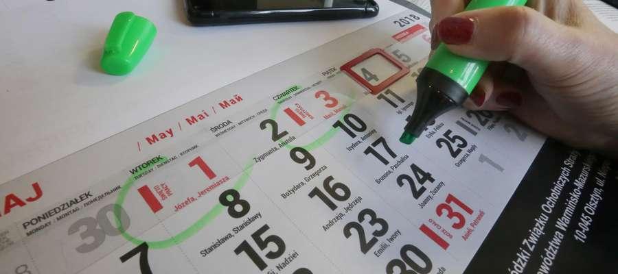 Kalendarz  Olsztyn-ilustracja do dni wolnych