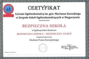 """Zaruski z certyfikatem """"Bezpieczna Szkoła – Bezpieczny Uczeń"""""""