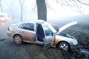 Groźny wypadek pod Olsztynem. Samochód osobowy uderzył w drzewo