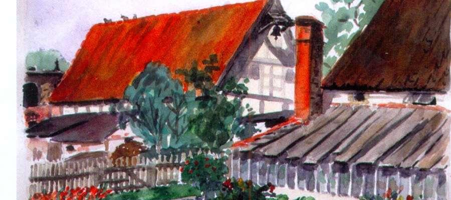 Akwarela Ilse von Graevenitz (de domo von Arnim) z 1926 roku: Oranżeria dworska w Dymniku