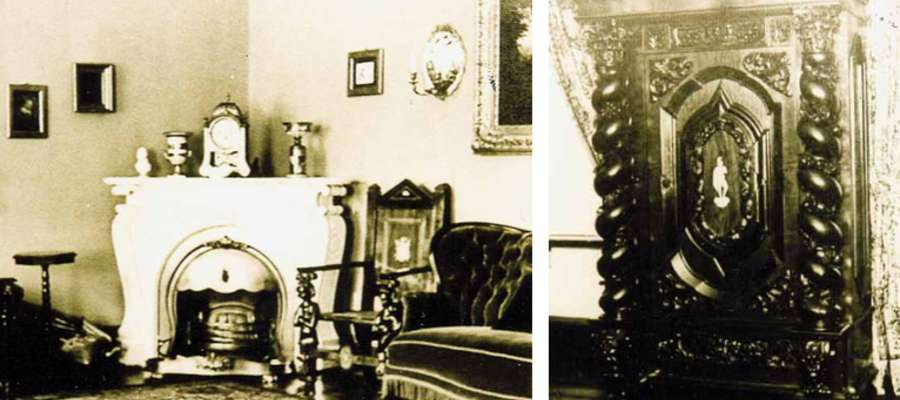 Kominek narożny w Salonie Niebieskim dworu w Rejsytach. Obok szafa z XVII/ XVIII wieku w Pokoju Pańskim dworu w Rejsytach