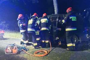 Ford rozbił się o drzewo koło Fromborka [zdjęcia]