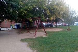 Olsztyńskie dzieci bawią się przy śmietniku