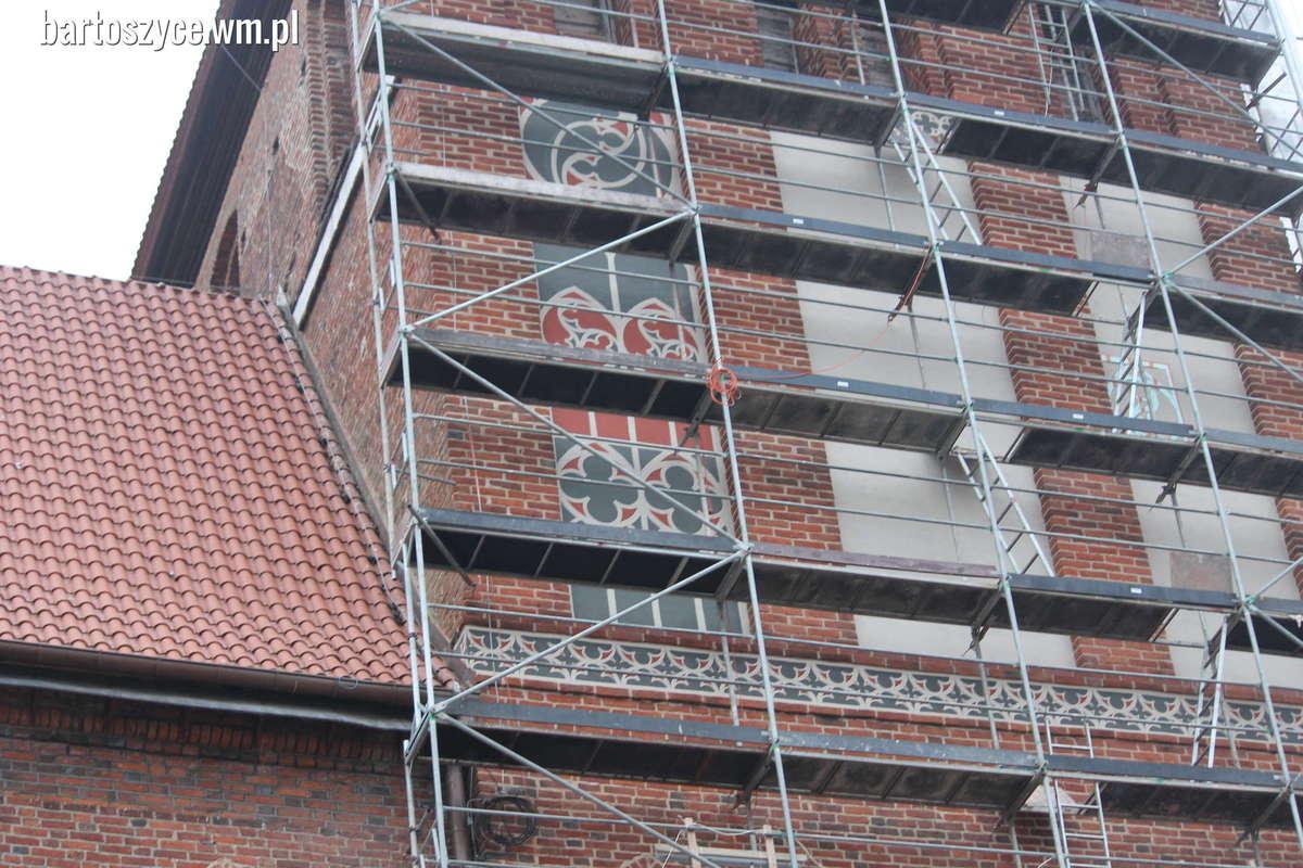 Projekt zdobień maswerkowych w północnej ścianie wieży kościoła.