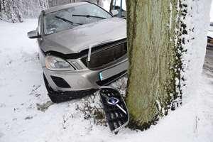 Volvo uderzyło w drzewo. Kierowca i pasażer trafili do szpitala
