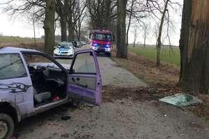 Wypadek na trasie Barciany - Srokowo. Pijany kierowca trafił do szpitala [FOTO]