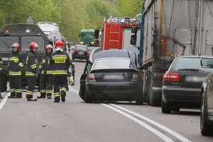 Wypadek pod Olsztynem. Droga jest nieprzejezdna [ZDJĘCIA]