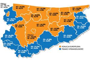 PiS powiększa przewagę! - sprawdź, jak głosowano na Warmii i Mazurach