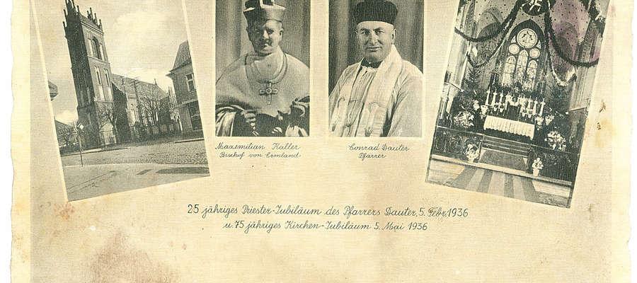 Pocztówka wydana z okazji 25-lecia kapłaństwa ks. Conrada Dautera i 75-lecia parafii parafii  św. Wojciecha w Mragowie, gdzie ksiądz był proboszczem przed objęciem parafii w Bisztynku.
