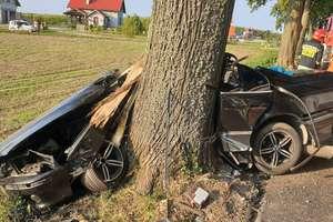 BMW uderzyło w drzewo, jedna osoba nie żyje, dwie zostały ranne