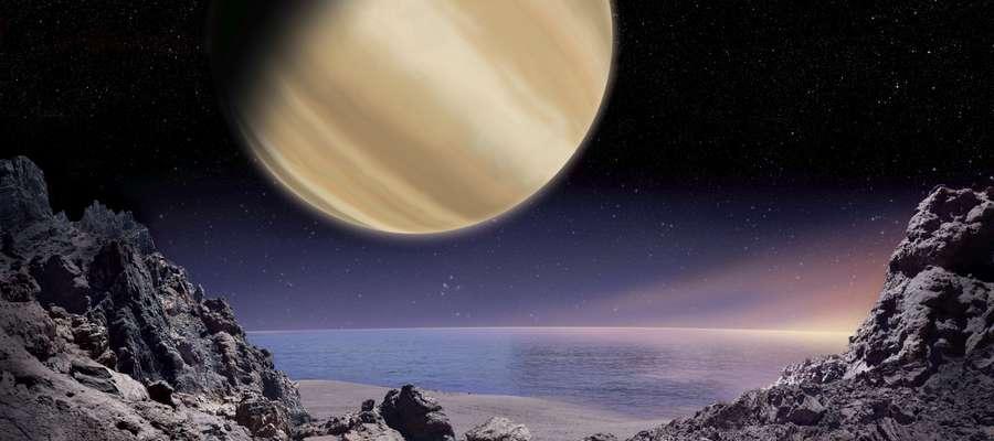 Artystyczna wizja widoku na planetę BD+14 4559 b z powierzchni jej hipotetycznego księżyca