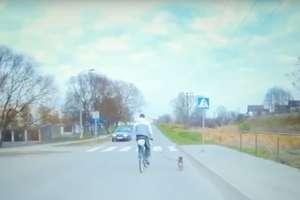Rowerzysta z  psem na smyczy... wężykiem. Zobacz nietypowy