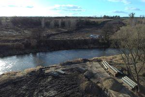 Budowa drugiego mostu w Bartoszycach z lotu ptaka