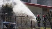 Pożar garaży przy ul. Batalionów Chłopskich w Mławie