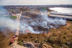 10 strażackich zastępów walczyło z pożarem trawy