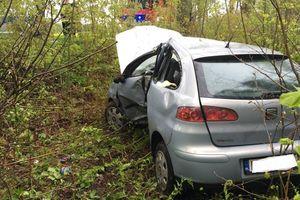 Samochód osobowy uderzył w drzewo