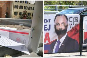 Porozrzucane karty do głosowania i zniszczone plakaty wyborcze w Olsztynie [ZDJĘCIA]