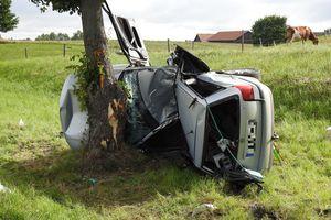 Auto uderzyło dachem w przydrożne drzewo [ZDJĘCIA]