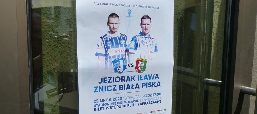Plakat zachęcający do przyjścia na mecz Jeziorak Iława — Znicz Biała Piska