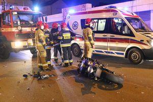 Zderzenie volkswagena z motocyklem w Olsztynie [ZDJĘCIA, VIDEO]