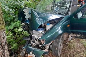 Śmiertelny wypadek - kierowca wjechał prosto w drzewo