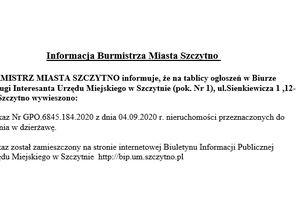 Informacja Burmistrza Miasta Szczytno