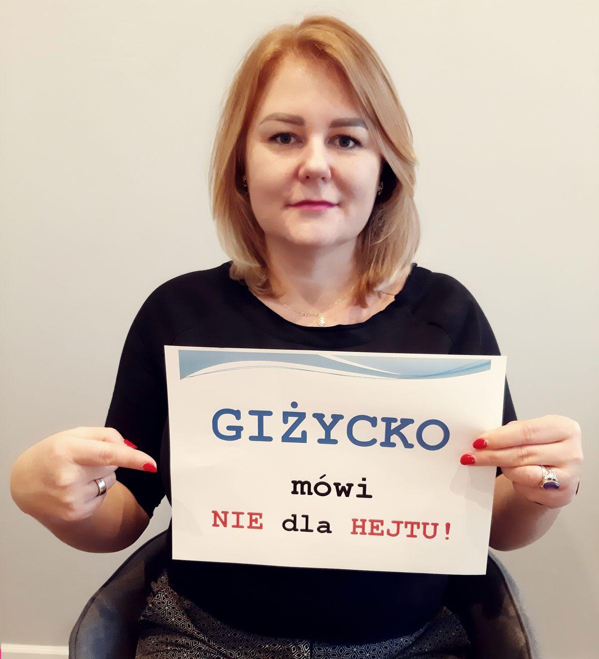 """Dr Katarzyna Karolska, koordynatorka kampanii """"Giżycko mówi NIE dla HEJTU"""""""