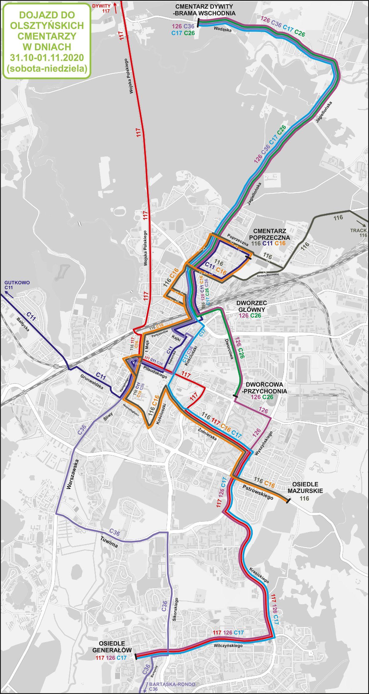Schemat linii autobusowych