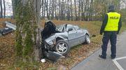 Na zakręcie wypadł z drogi i uderzył w drzewo
