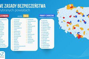 Jeden powiat z Warmii i Mazur w czerwonej strefie, trzy powiaty w żółtej