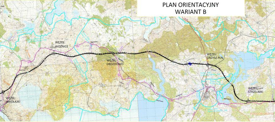 S16 - plan orientacyjny, wariant B