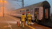 Wagon w ogniu na stacji Działdowo