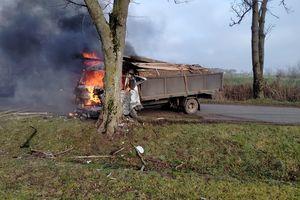 Volkswagen uderzył w drzewo i stanął w płomieniach