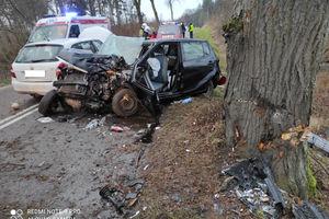 Wypadek koło Dąbrówna. Dwie osoby zostały ranne