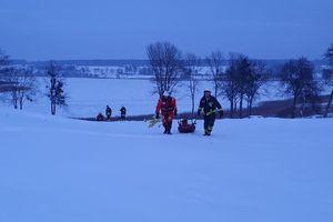 Mała sarna weszła na lód i nie mogła z niego z zejść. Pomogli strażacy z OSP Bartąg