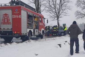Noga z gazu! W okolicach Bynowa samochód osobowy uderzył w drzewo