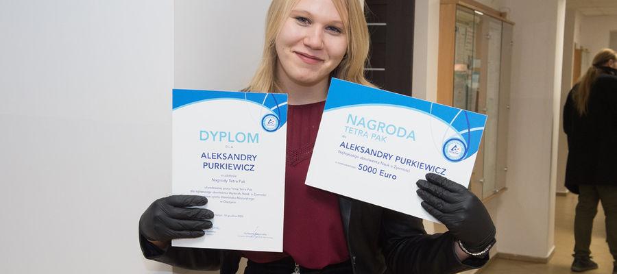 Aleksandra Purkiewicz najlepsza absolwentka Wydziału Nauki o Żywności UWM