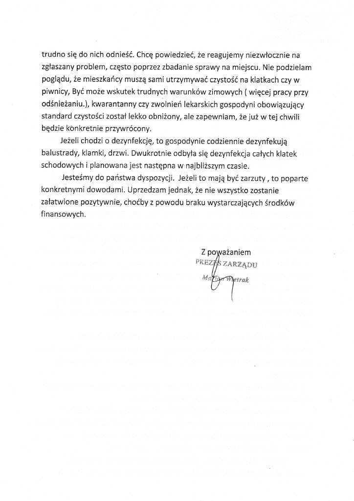 Prezes SM Budowlani odpowiada na zastrzeżenia.
