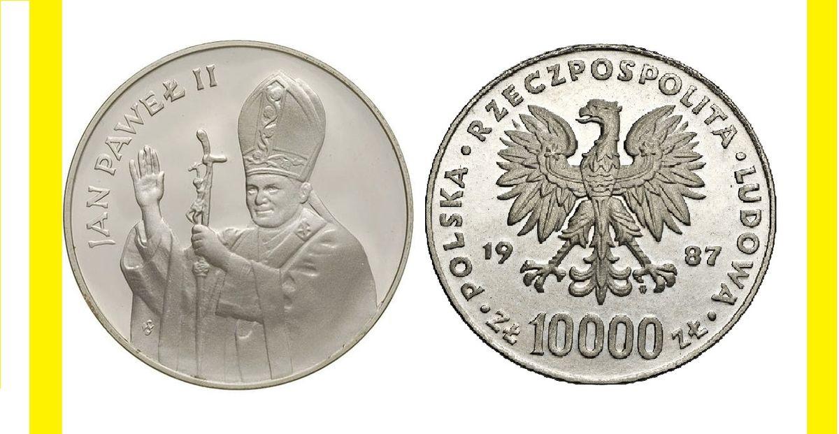 Srebrna moneta z wizerunkiem Jana Pawła II, o nominale z 1987 roku do wylicytowania.