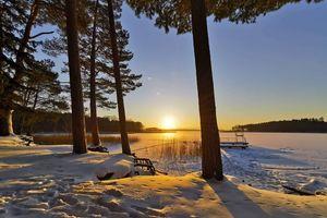 Gazeta za zdjęcie - zachód słońca nad jeziorem Gołdopiwo
