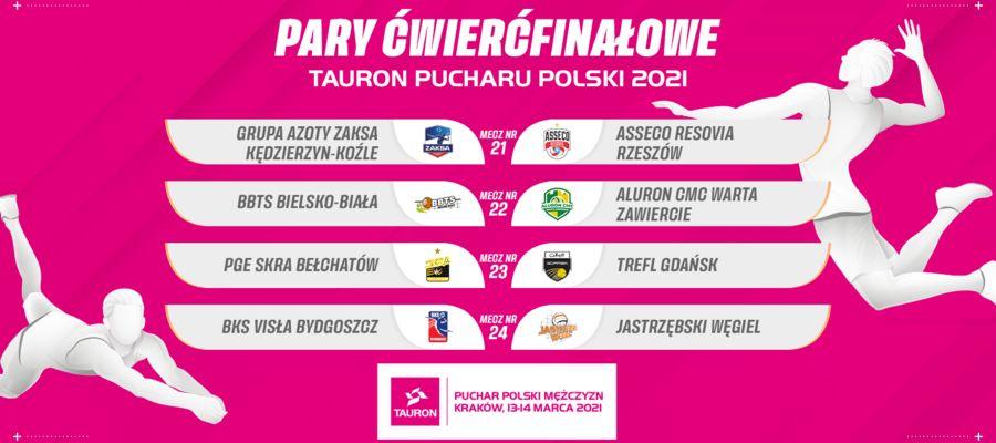 Zestaw par ćwierćfinałowych Pucharu Polski siatkarzy
