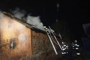 Pożar budynku inwentarskiego w Lisach